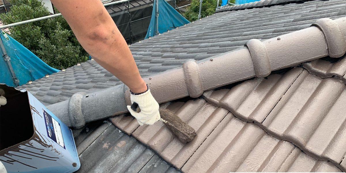 瓦屋根中塗り